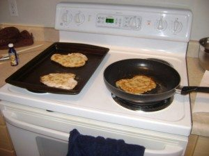 Side by side comparison of baked vs. fried bread.