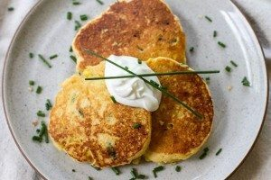 Savory Cornbread Pancakes with roasted corn and chives