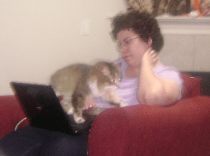 The author working on a laptop with a cat in her lap.
