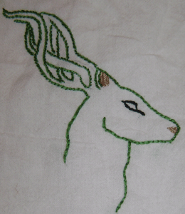 An embroidered outline.