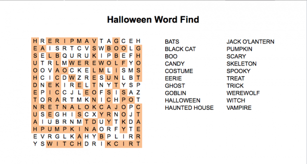 Halloween word search puzzle with the hidden words highlighted in orange