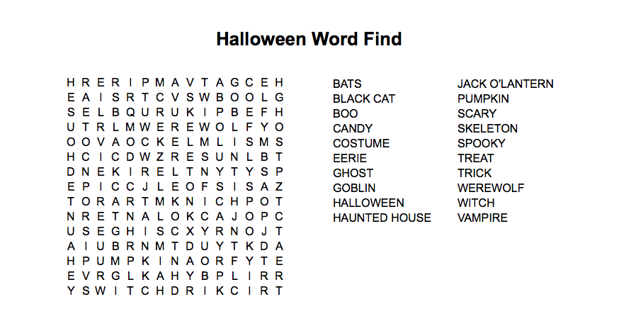 halloween themed word search puzzle