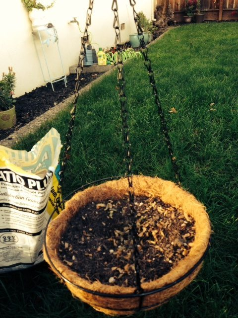 photo of a hanging planter sitting on the grass with potting soil off to the side
