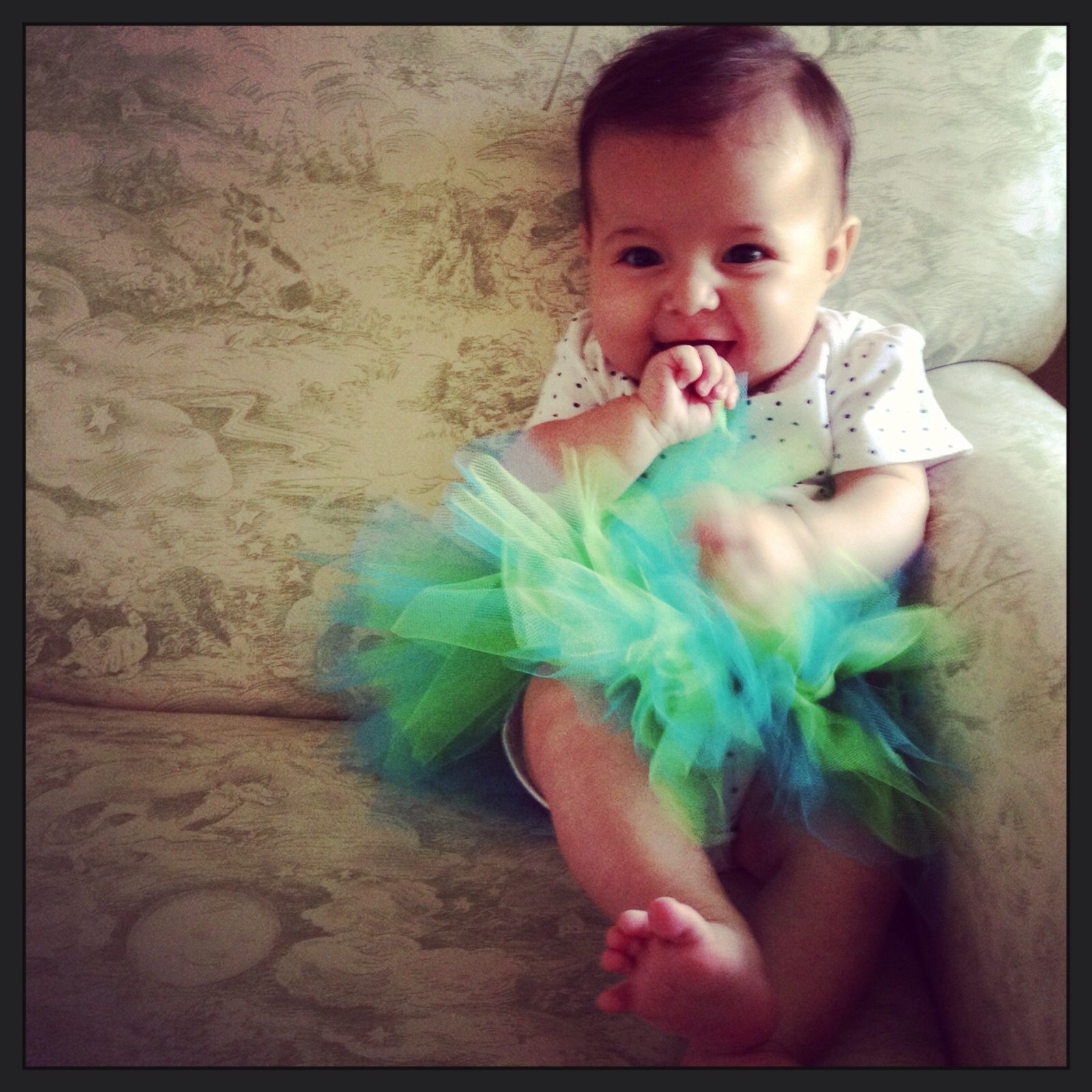 photo of infant girl with black hair in a onesie and green and blue tutu with her fist in her mouth