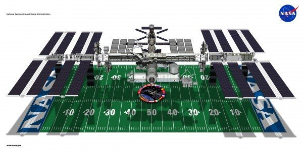 Artist rendering of the ISS hovering over a football field.