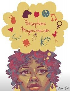 Vector drawing of a woman dreaming of Persephone Magazine