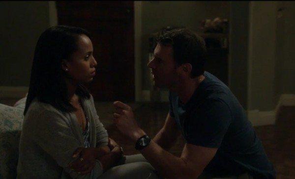 "Olivia Pope (Kerry Washington) and Jake Ballard (Scott Foley) in ABC's Scandal episode 3.03 ""Say Hello to My Little Friend"""