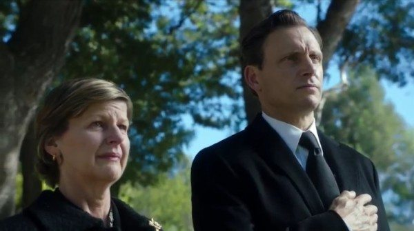 """Image of two people at a funeral in ABC's Scandal episode 3.03 """"Say Hello to My Little Friend"""""""