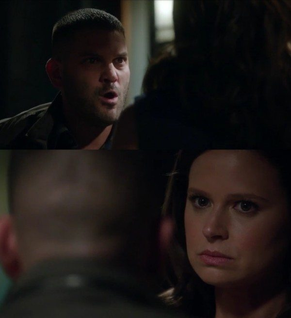 """(Huck) Guillermo Díaz argued with Quinn Perkins (Katie Lowes) point guns at each other in ABC's Scandal episode 3.03 """"Say Hell to My Little Friend"""""""
