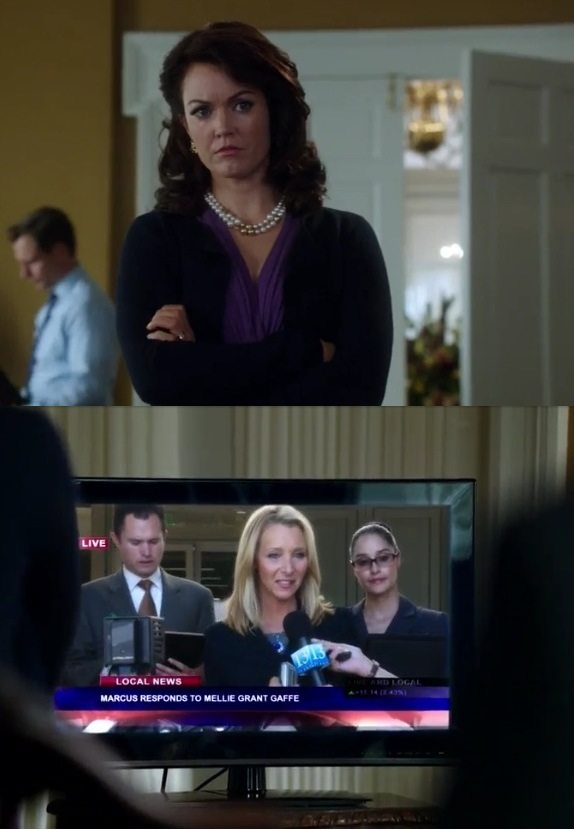 """Mellie Grant (Bellamy Young) watches Marcus Collins (Mark Bloom) on the news in ABC's Scandal episode 3.03 """"Say Hello to My Little Friend"""""""
