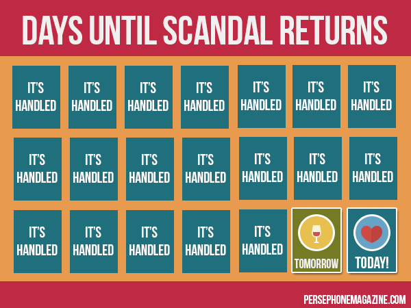 Countdown calendar for ABC's Scandal, with two days remaining uncovered.