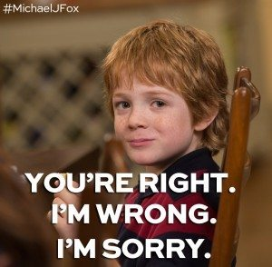 "The youngest child, Graham, looks at the camera with text overlaid saying ""You're Right. I'm Wrong. I'm Sorry."""