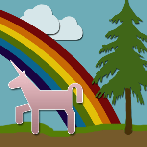 A unicorn frolics in front of a rainbow and a blue sky