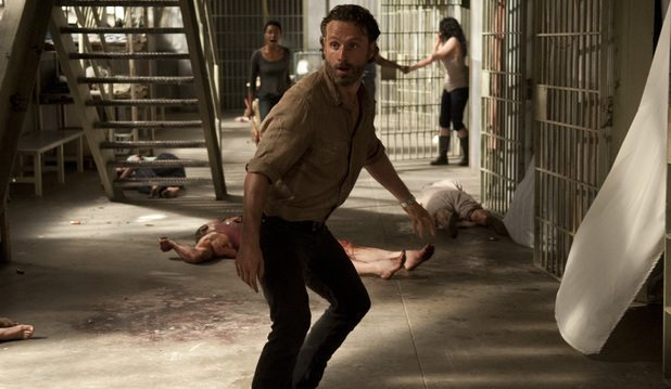 Rick in the chaos of cellblock D