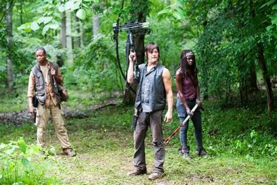 "Daryl Dixon (Norman Reedus), Bob Stookey (Lawrence Gilliard Jr.), and Michonne (Danai Gurira) stand in a wood with weapons in The Walking Dead 4.03 ""Isolation."""