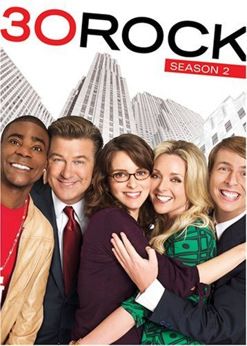 box set of season 2 of 30 Rock with Tracey Morgan, Alec Baldwin, Tina Fey, Jane Krakowski and Jack McBrayer on the cover with skyscrapers in the background