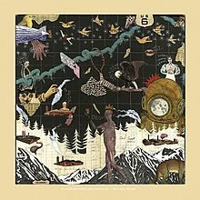 An album cover drawing of mountains, a scuba diver, an eagle, random people, birds, and other various items