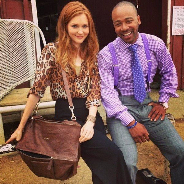 Darby Stanchfield and Columbus short pose on the set of ABC's Scandal.