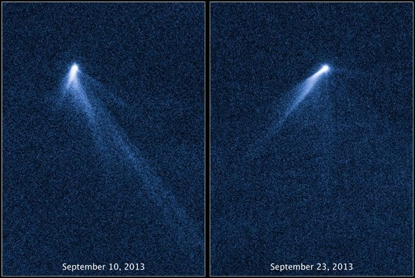 Two photos of Asteroid P5, with tails in different positions, dated September 10 and 23, 2013