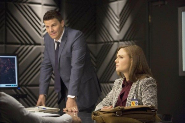 "BONES:  Brennan (Emily Deschanel, R) and Booth (David Boreanaz, L) interview a professional soccer player who is accused of murdering his wife in the ""The Fury in the Jury"" time period premiere episode of BONES airing Friday, Nov. 15 (8:00-900 PM ET/PT) on FOX.  ©2013 Fox Broadcasting Company.  Cr:  Jennifer Clasen/FOX"