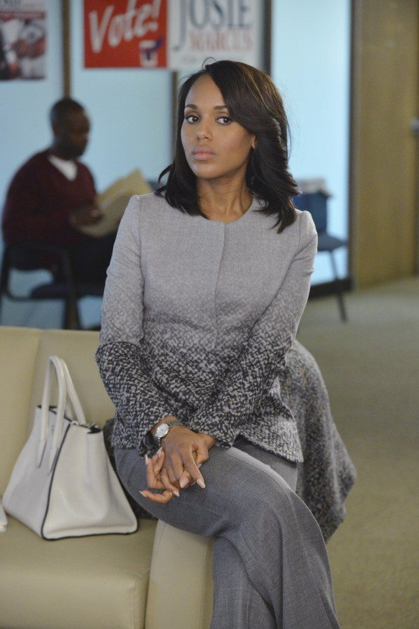 "Oliva Pope (Kerry Washington) looks cautious in a grey ensemble in ABC's Scandal episode 4.06 ""Icarus."""