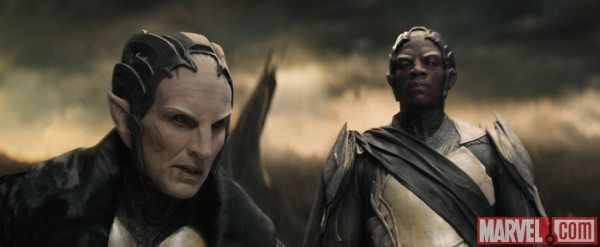 Malekith and Algrim stand side by side on Svartalfheim in Thor: The Dark World.