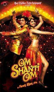 Om Shanti Om movie poster, featuring Shahrukh Khan and Deepika Padukone.