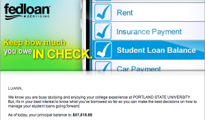 Image of fedloan email message.