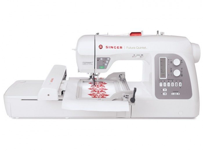 Photo of the Singer Futura Quintet Sewing Machine, white with grey accents