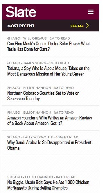 Latest headlines on Slate