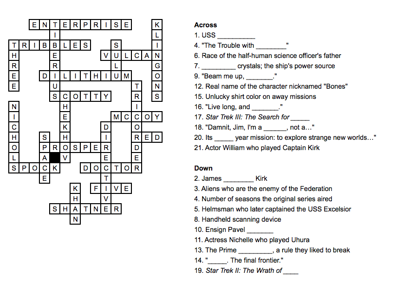 Answers Of Star Trek The Original Series Crossword Puzzle