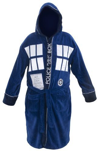 Bathrobe in the design of the time traveling TARDIS on the Doctor Who television program.