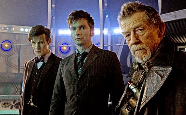 "The three Doctors stand in the TARDIS in ""The Day of the Doctor."""