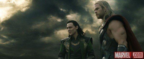 Thor and Loki stand side by side on Svartalfheim in Thor: The Dark World