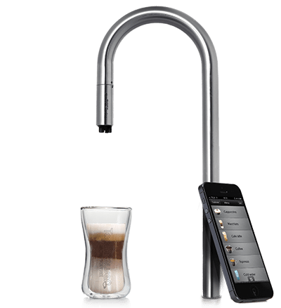 Photo of a latte, a spigot, and an iPhone
