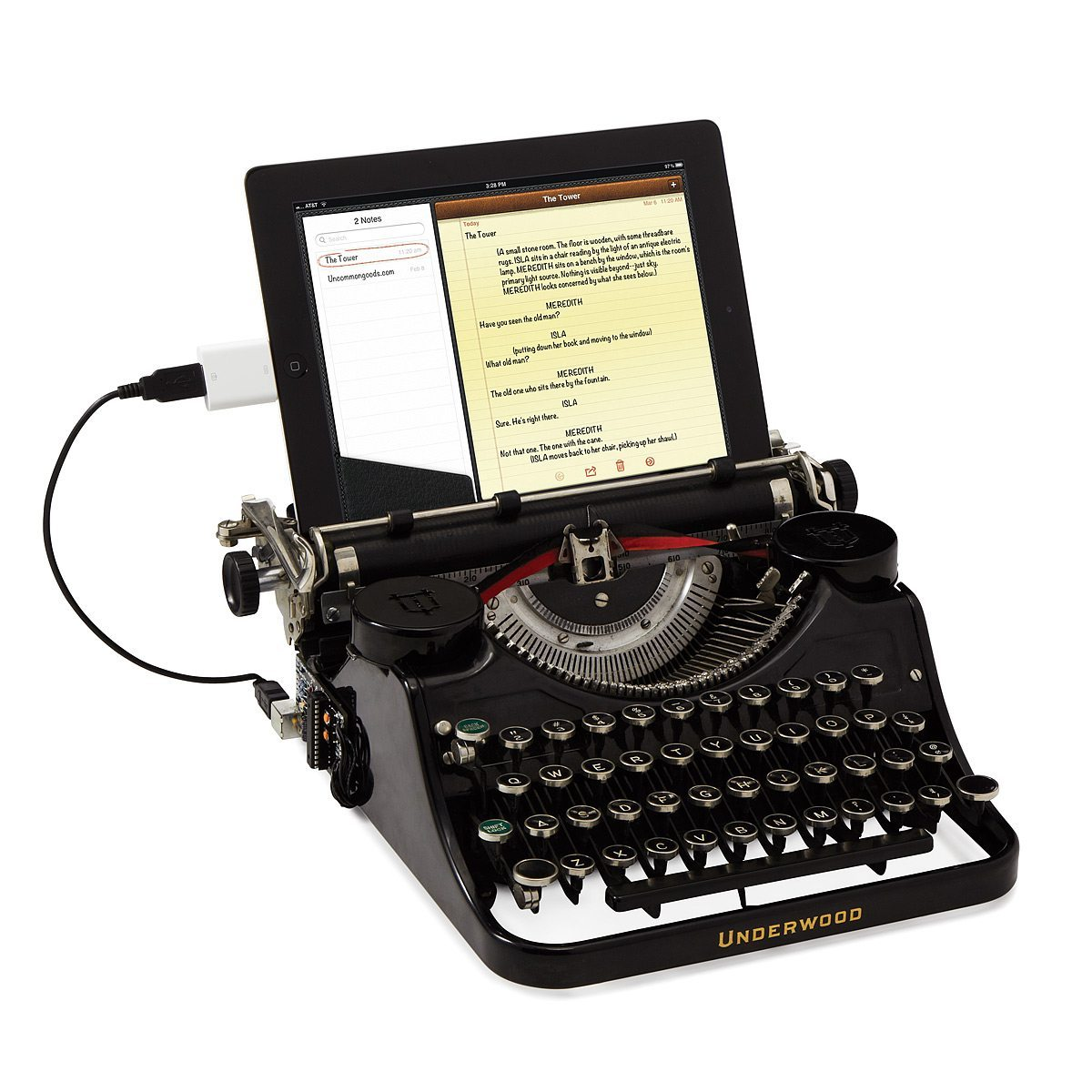 Photo of a vintage looking black typewriter that plugs into a computer via USB