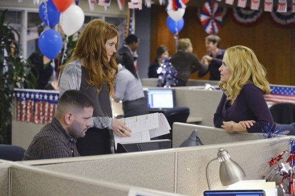 "Three people work in cubicles for a election campaign in ABC's Scandal episode 4.06 ""Icarus."""