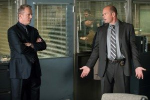 """Detectives Gregson & Coventry argue in CBS's Elementary episode 2x09, """"This is the Line."""""""