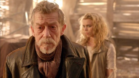 "An image featuring John Hurt and Billie Piper from ""The Day of the Doctor."""