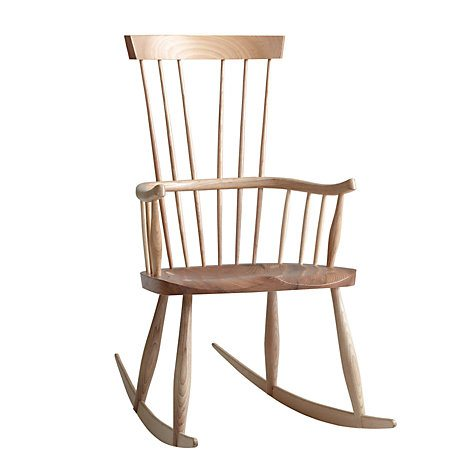 photo of a beautiful hand crafted light wood rocking chair