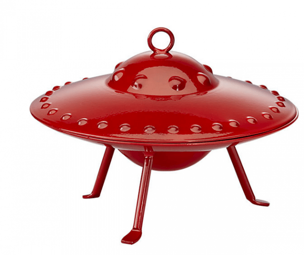 Red metal flying saucer ornament from CB2