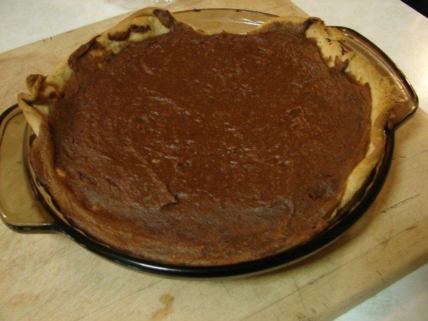 A picture of a homemade pumpkin pie.