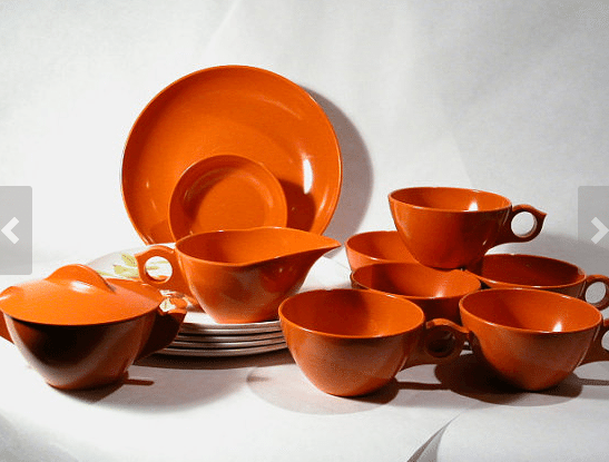 Etsy Vintage Seller Woodshedvtg incredibly awesome vintage melamine tea set in atomic orange.