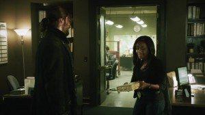 Abbie Mills (Nicole Beharie) gives Crane a present.