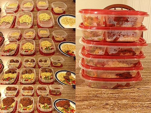 Image of food in reusable food storage containers.