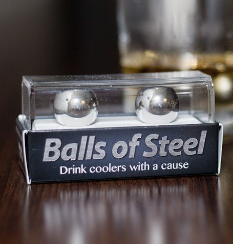 Photo of two stainless steel balls in a plastic package that says Balls Of Steel on it