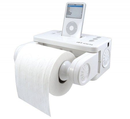 photo of a white toilet paper holder that holds an iPod player incorporated
