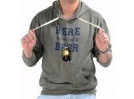 "photo of a guy wearing a grey sweatshirt that says ""Here for the Beer"" in blue with a pocket for a beer attached to the front"