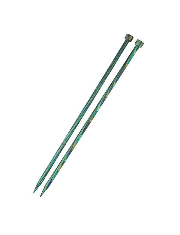 A picture of a pair of blue and green wooden knitting needles. Via knitpicks.com
