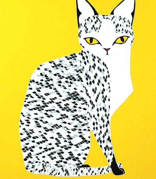 Print of a black and white dotted cat with a yellow background